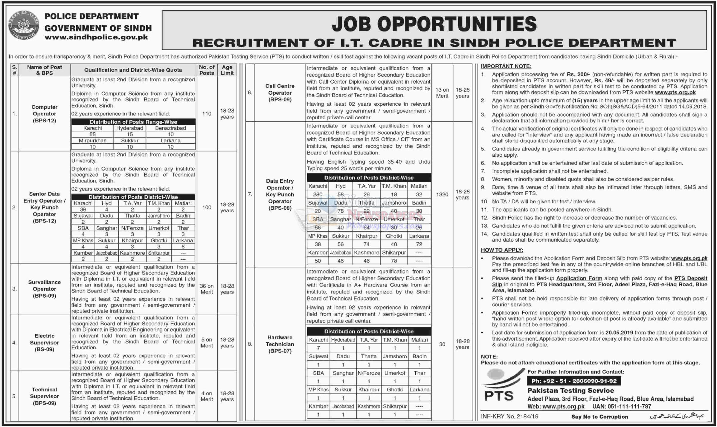 Jobs in Sindh Police Department