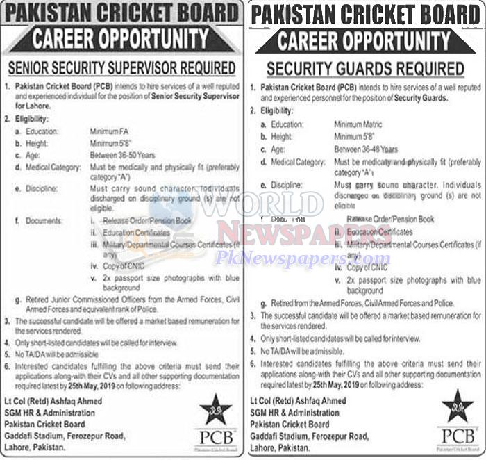 Jobs in Pakistan Cricket Board