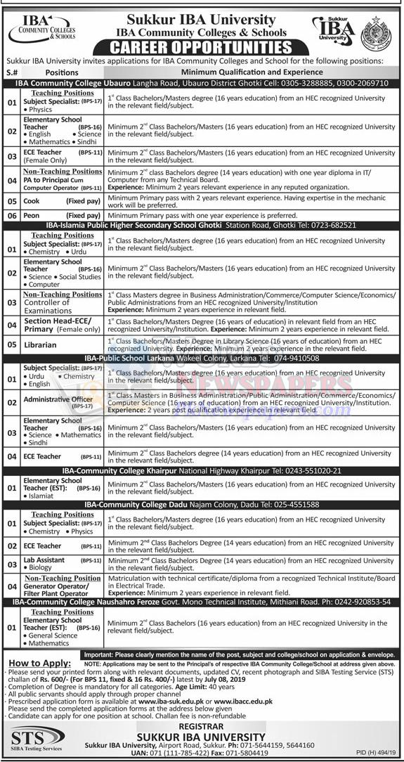 Jobs in IBA Community Colleges and School