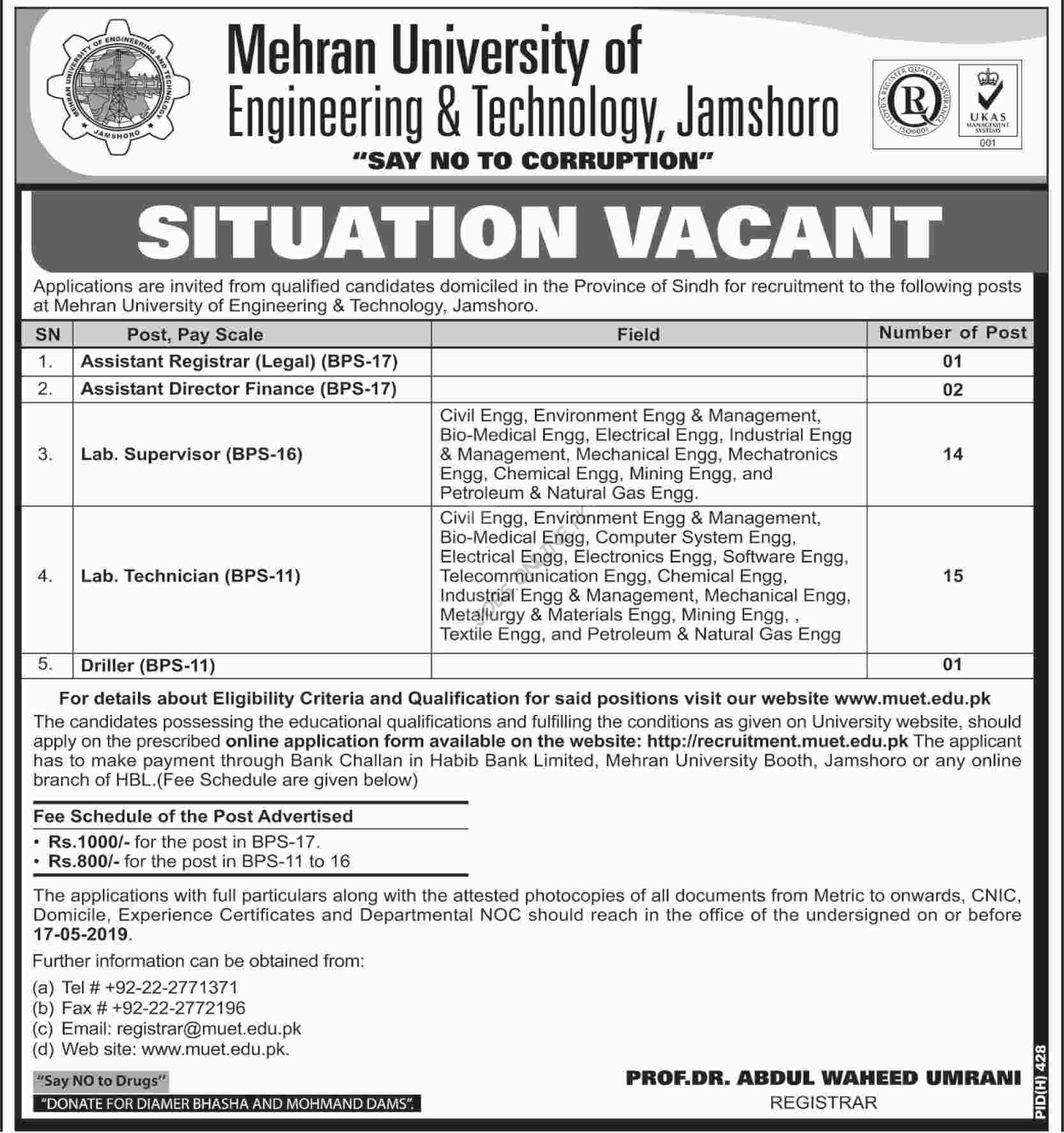 Jobs in Mehran University of Engineering and Technology Jamshoro