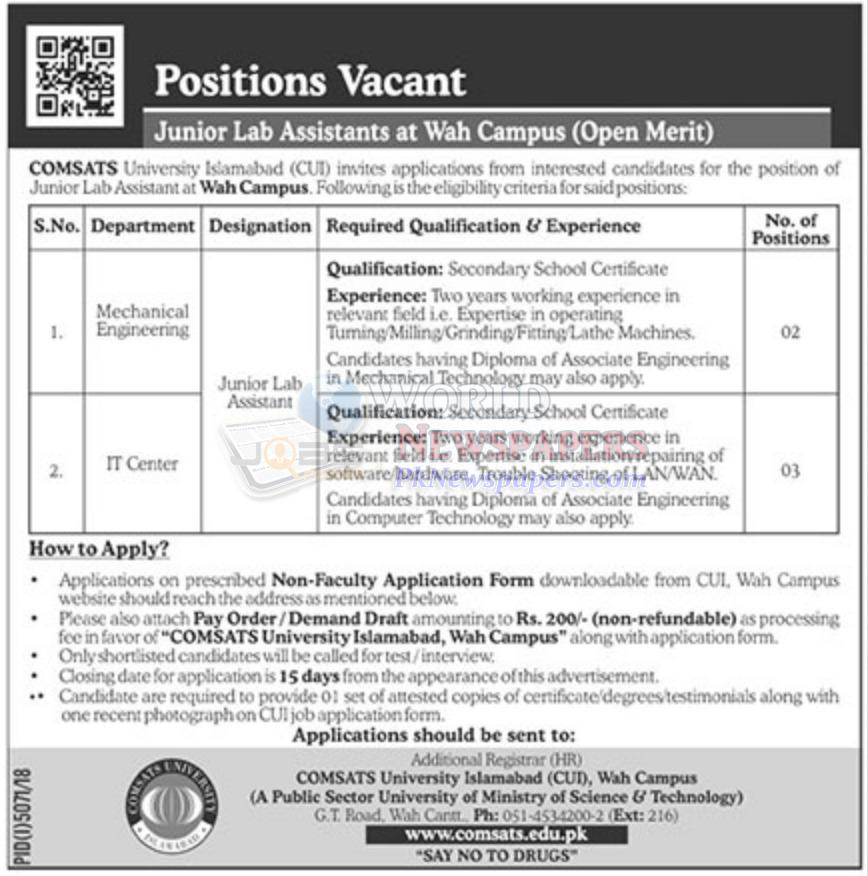 Jobs in Comsats University Wah Campus