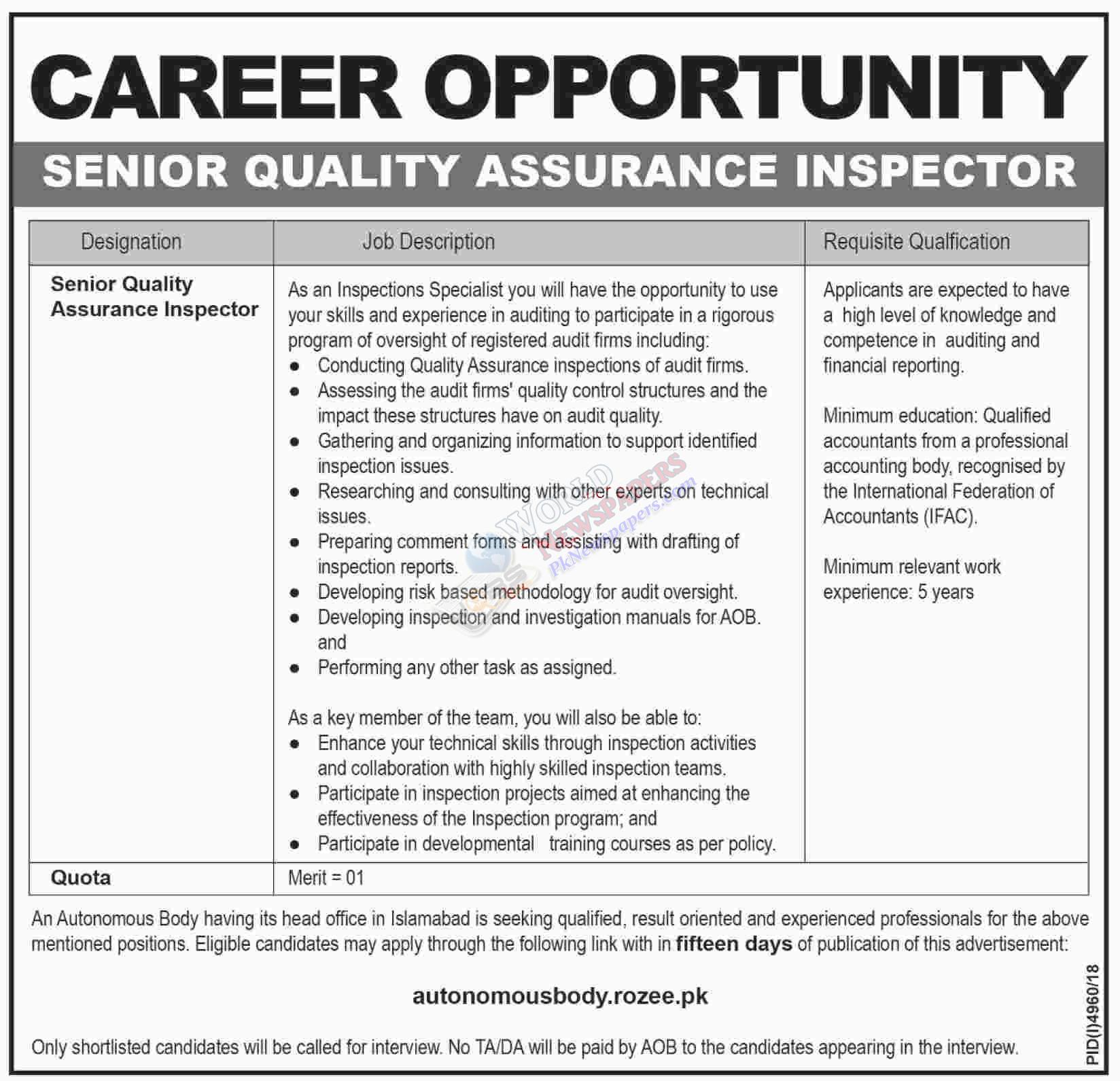Quality Assurance Inspector Job