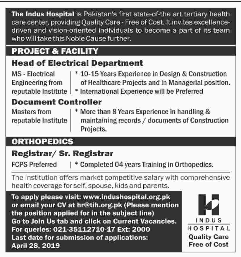 The Indus Hospital Karachi Jobs