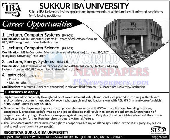 Jobs in IBA University Sukkur