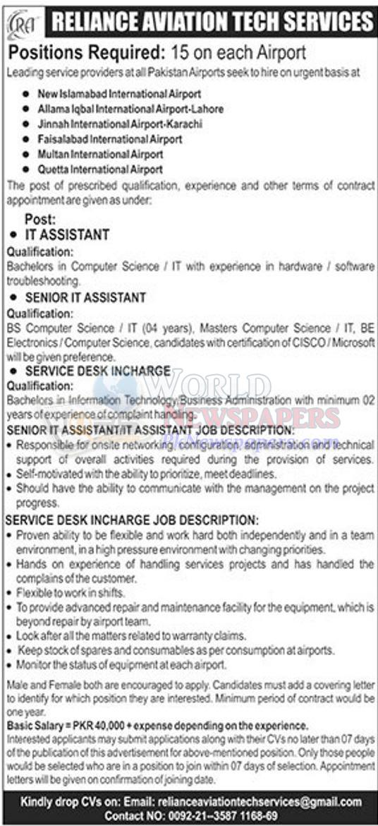 Airport Jobs in Islamabad Lahore Karachi