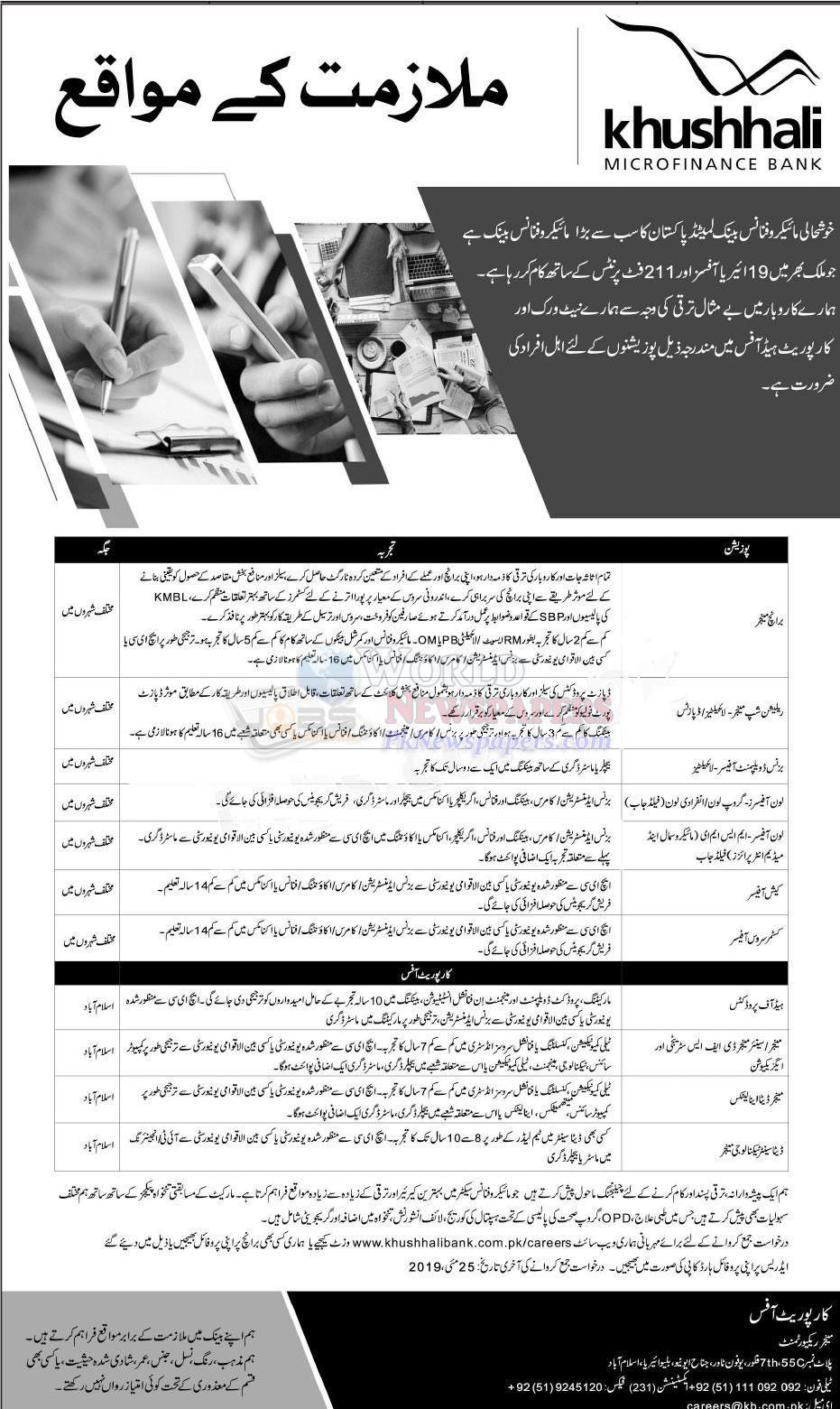 Jobs in Khushhali Bank Pakistan