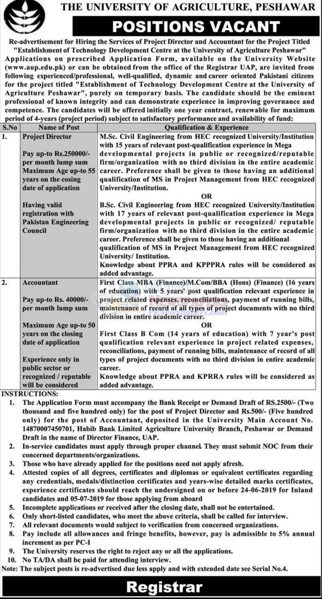 Jobs in The University of Agriculture Peshawar
