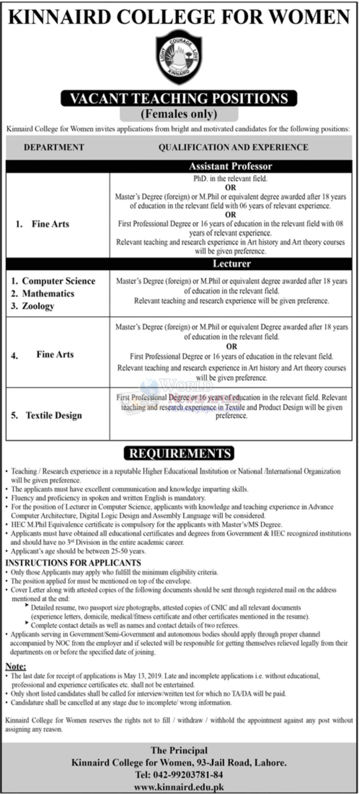 Jobs in Kinnaird College For Women