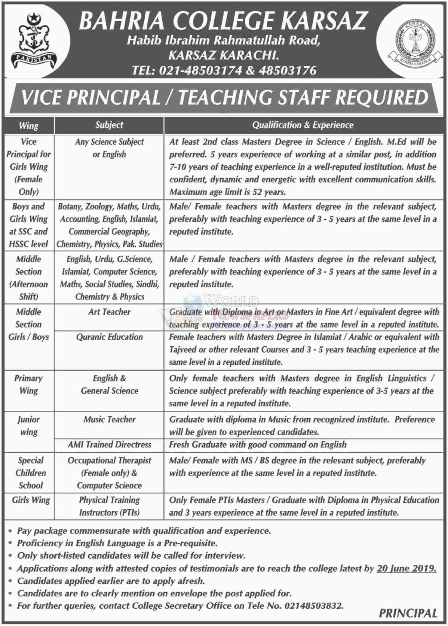 Bahria College Karsaz Karachi Jobs