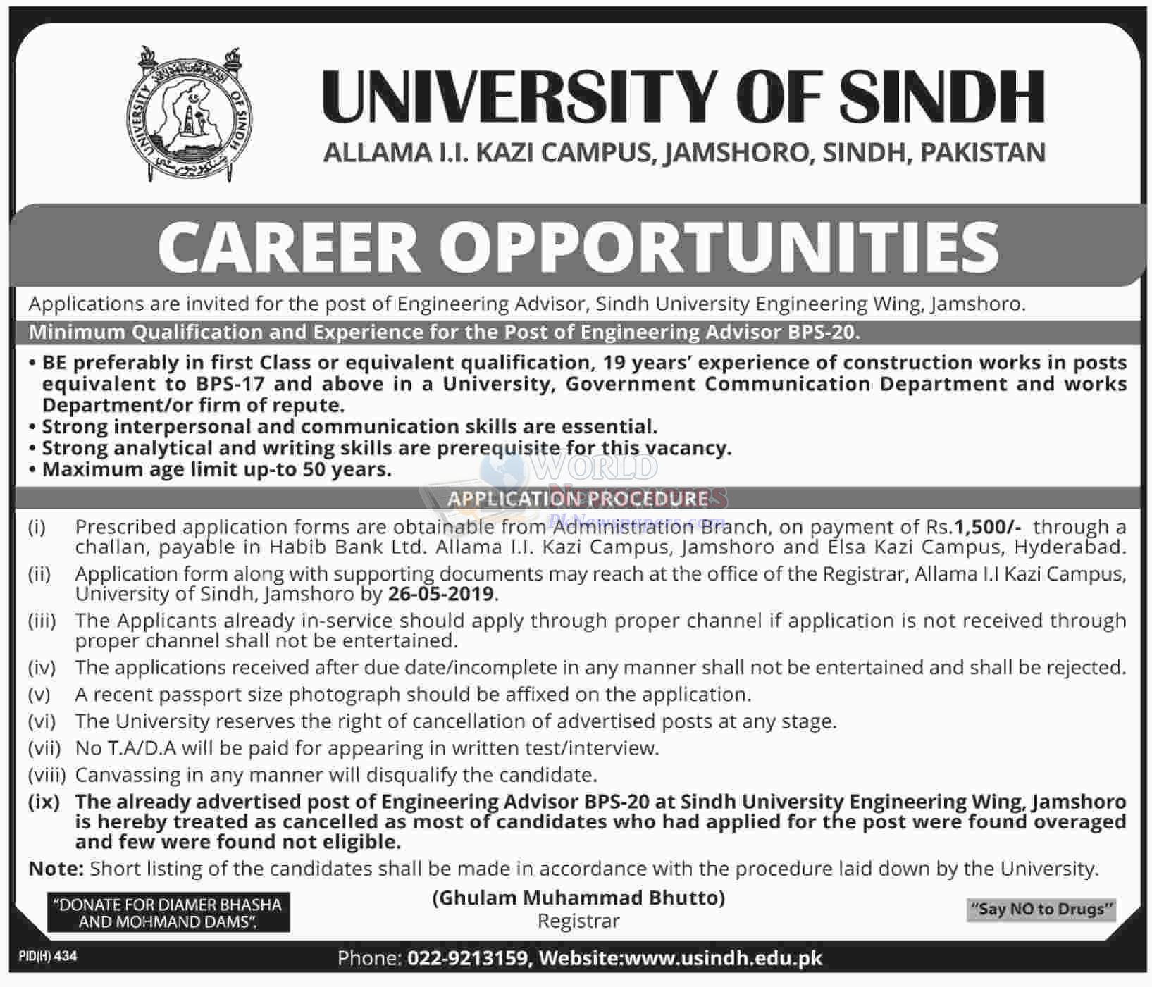 Jobs in University of Sindh Jamshoro
