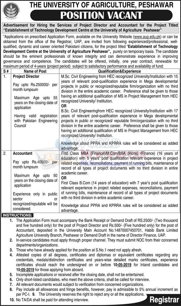 The University of Agriculture Peshawar Jobs