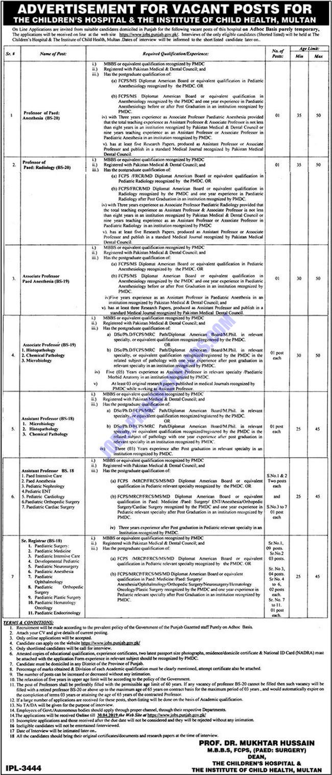 Children Hospital Multan Jobs