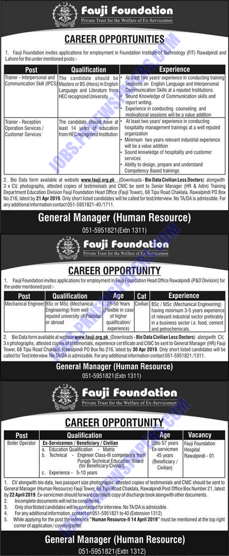 Fauji Foundation Jobs in Lahore Rawalpindi