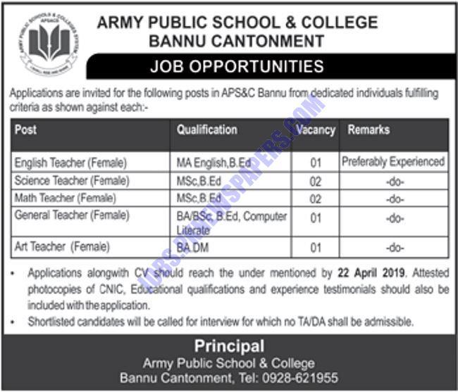 Teaching Jobs in Army Public School & College Bannu