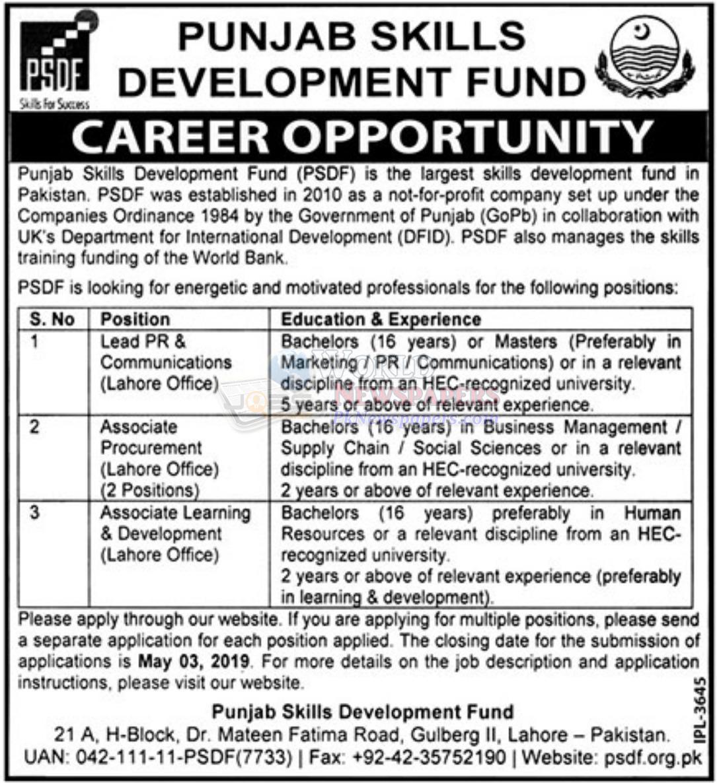 Jobs in Punjab Skills Development Fund
