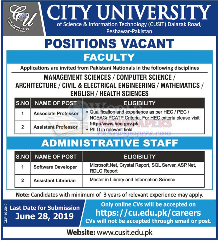 City University of Science & Information Technology Jobs