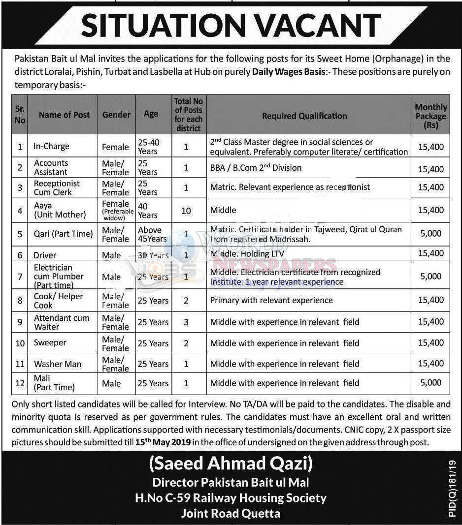 Jobs in Pakistan Baitul Mal