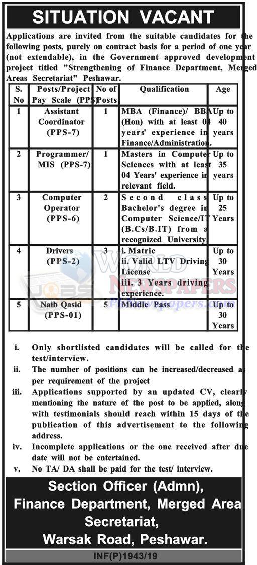 Jobs in Finance Department Peshawar